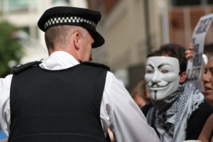 The Guy Fawkes mask from V for Vendetta has become synonymous with protest in the UK.