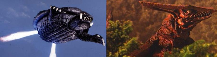 Gamera flying on left. Gyaos an recurring antagonist on right.
