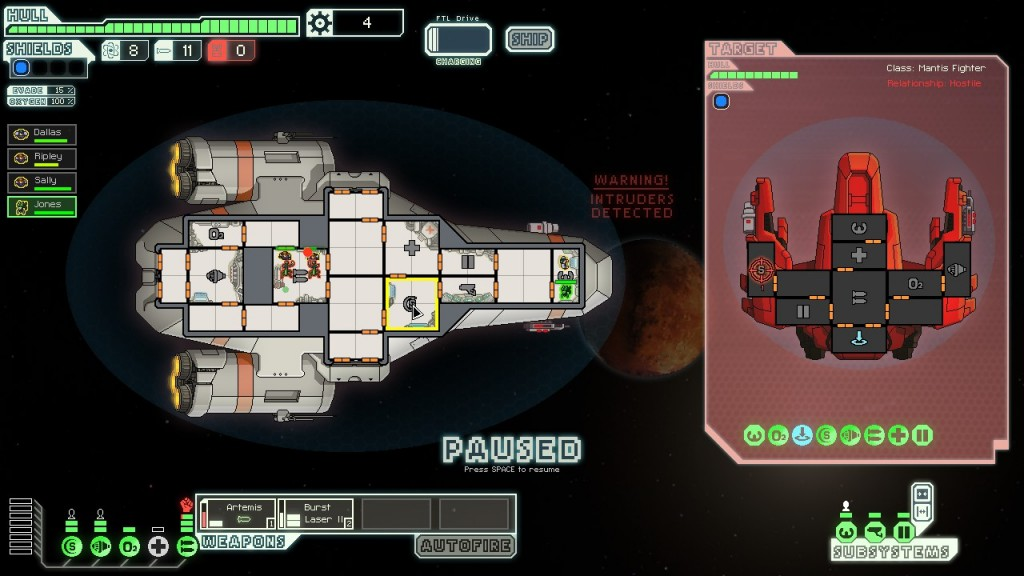 Another game which has been stuck in my head is FTL. I like my characters to all have some level of continuity, it just so happens that on this particular playthrough I named all my characters after people in Alien, and the first crewmember I got was called Jones. Spooky nerdism.